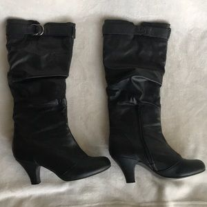 Black heeled just blow knee boots